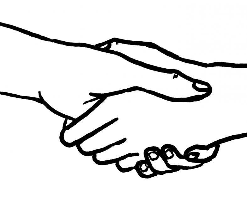 Drawing of a handshake.